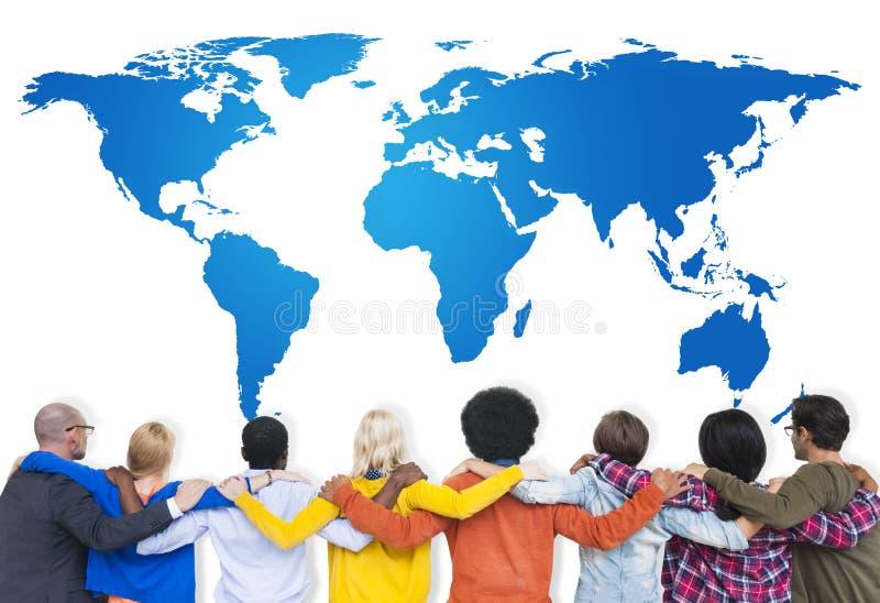 Концепция планирования стратегии груды сотрудничества команды глобальная стоковые изображения