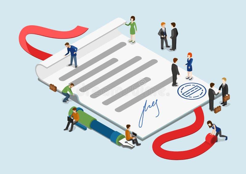 Концепция плоских людей контракта сети 3d равновеликих мини infographic иллюстрация вектора
