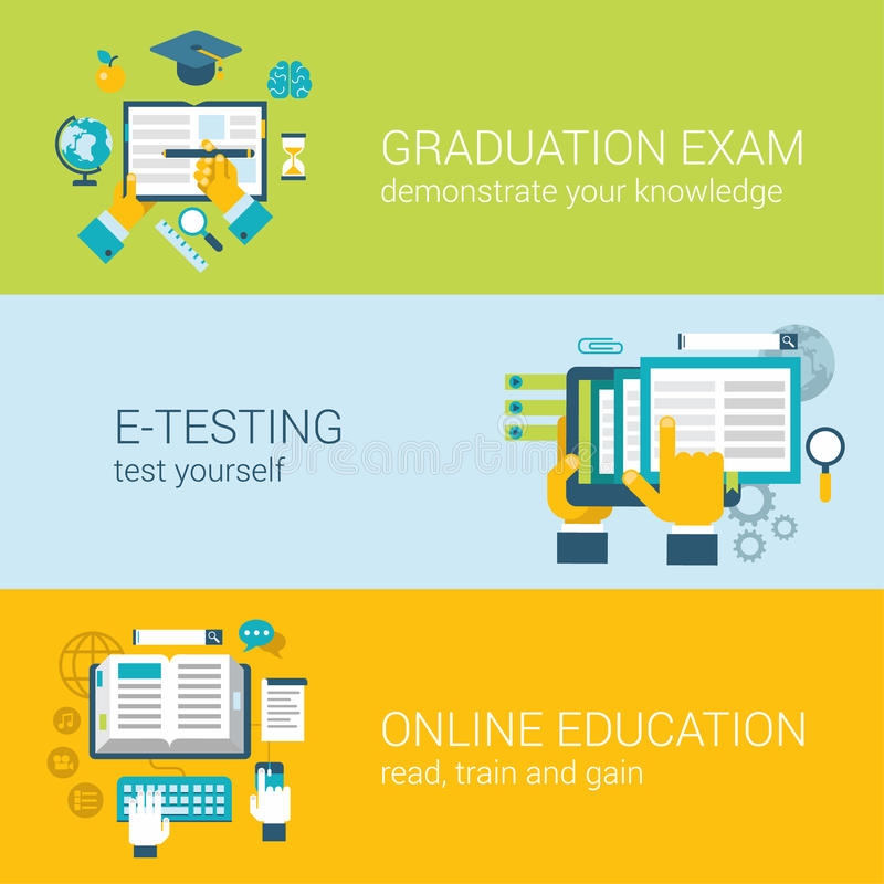 Концепция плоского онлайн экзамена исследования обучения по Интернетуу образования infographic бесплатная иллюстрация