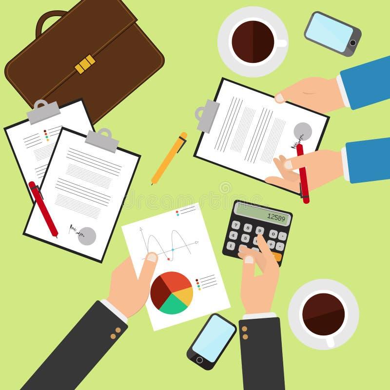 Концепция работая организации процесса и рабочего места для дела объединяется в команду бесплатная иллюстрация