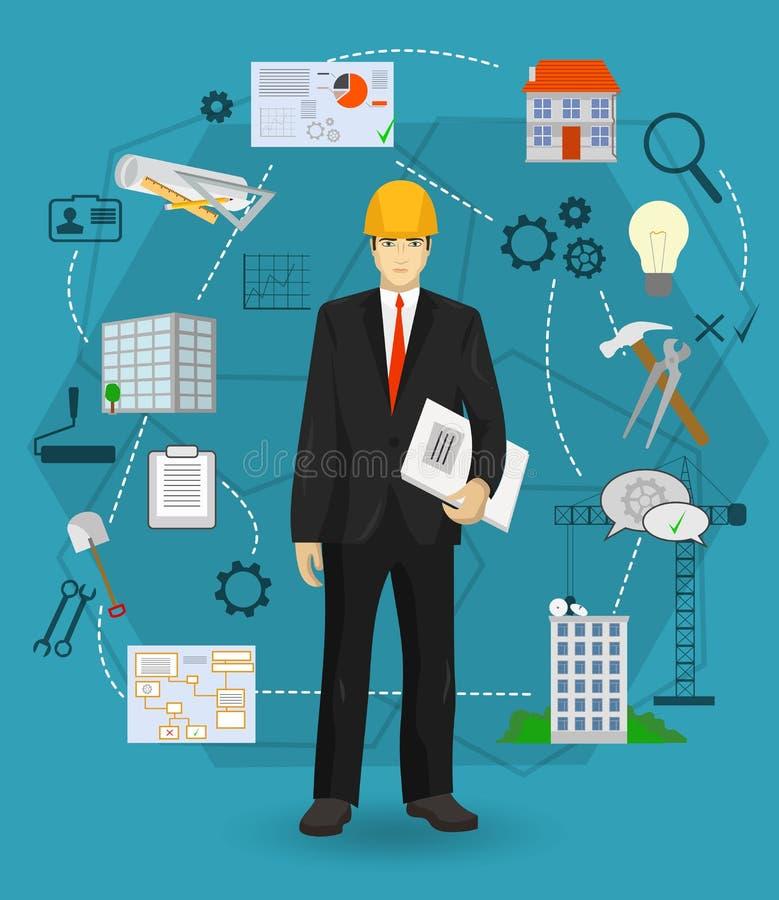 Концепция работника менеджера человека построителя с плоскими значками Профессии конструкции и здания бесплатная иллюстрация