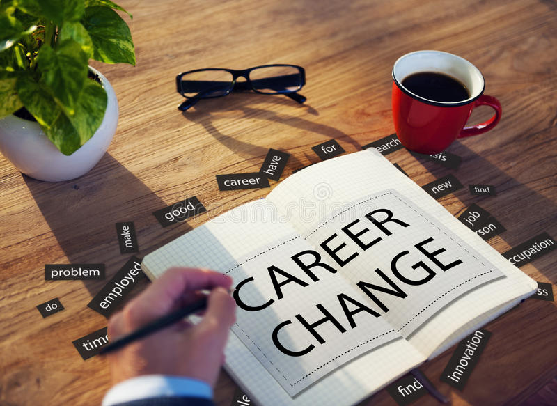 Концепция работы человеческих ресурсов рабочего места изменения карьеры стоковое изображение