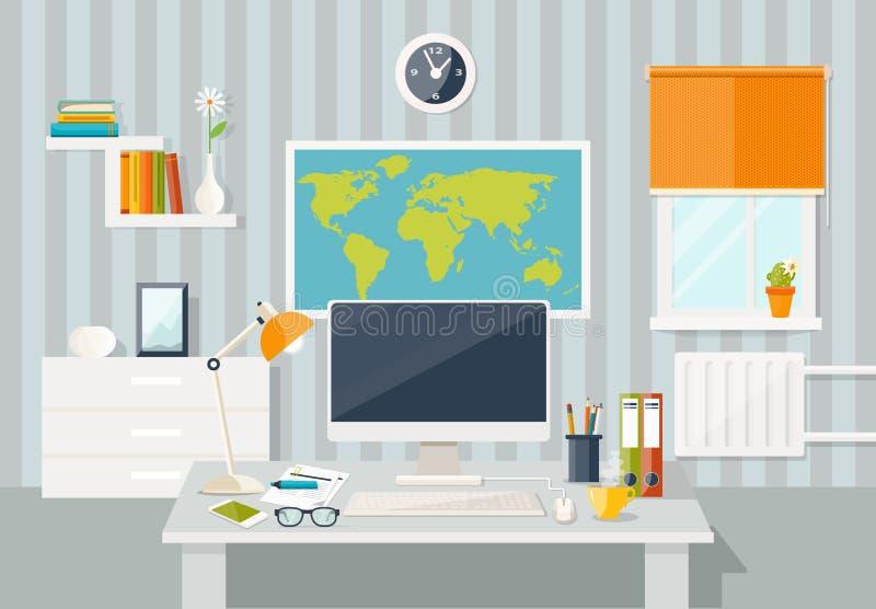 Концепция рабочего места домашний нутряной самомоднейший офис 3d представляет стоковые фото