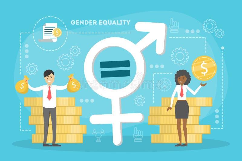 Концепция равенства полов Женский и мужской характер иллюстрация вектора