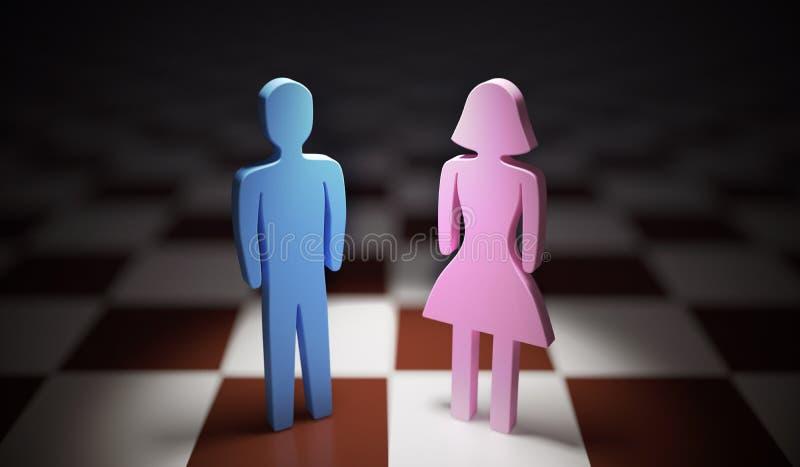 Концепция равенства полов Положение человека и женщины на шахматной доске 3D представило иллюстрацию стоковая фотография