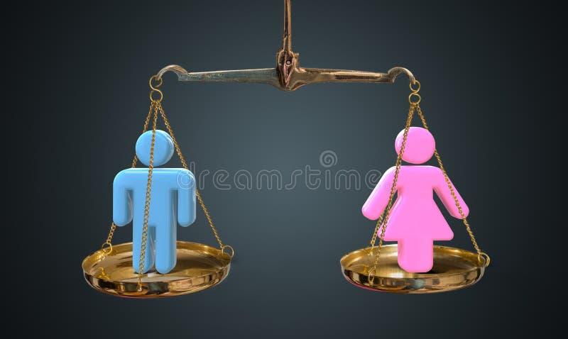 Концепция равности людей и женщин Масштабы сравнивают людей и женщин стоковые фотографии rf