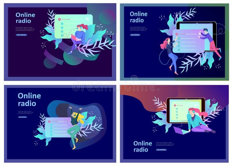 Концепция радио интернета онлайн течь слушать, люди ослабляет для того чтобы слушать танец Применения музыки, песни репертуара он иллюстрация штока