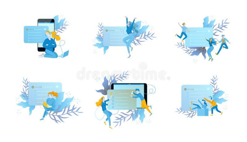Концепция радио интернета онлайн течь слушать, люди ослабляет для того чтобы слушать танец Применения музыки, песни репертуара он иллюстрация вектора