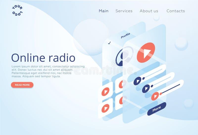 Концепция радио интернета онлайн течь слушать Применения музыки, песни репертуара онлайн, радиостанция нот иллюстрация вектора