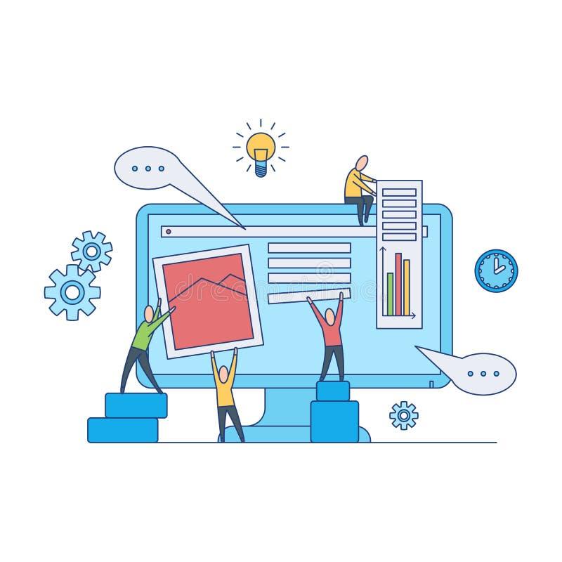 Концепция развития веб-дизайна - дизайнеры сети объединяются в команду работа на создаваясь и заполняя странице места бесплатная иллюстрация