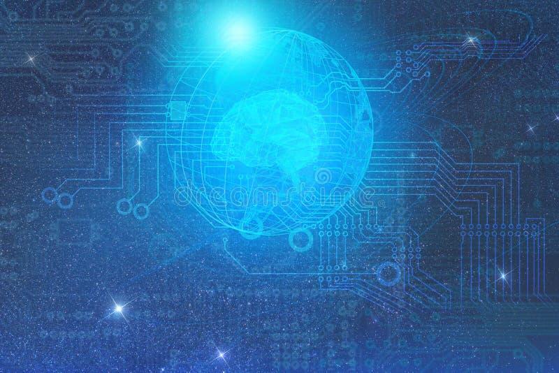 Концепция развития искусственного интеллекта на земле планеты и отношения с другим начатым чужеземцем иллюстрация штока