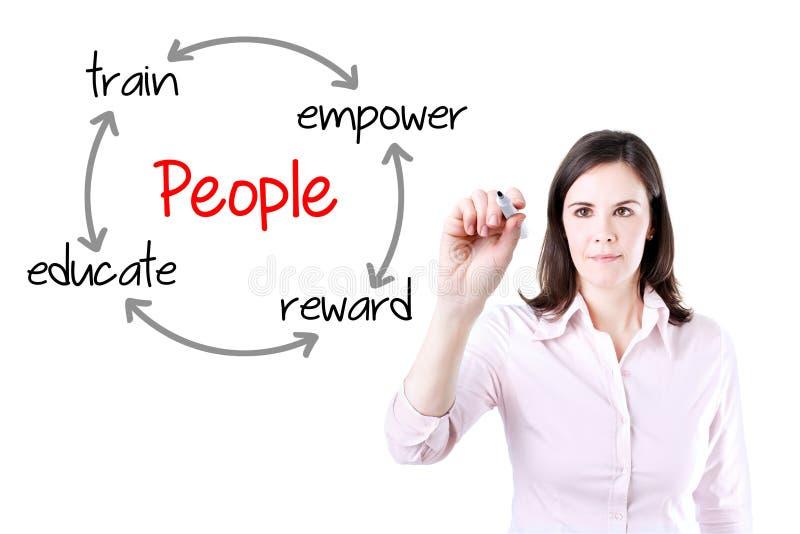 Концепция развития людей сочинительства бизнес-леди Изолировано на белизне стоковые изображения