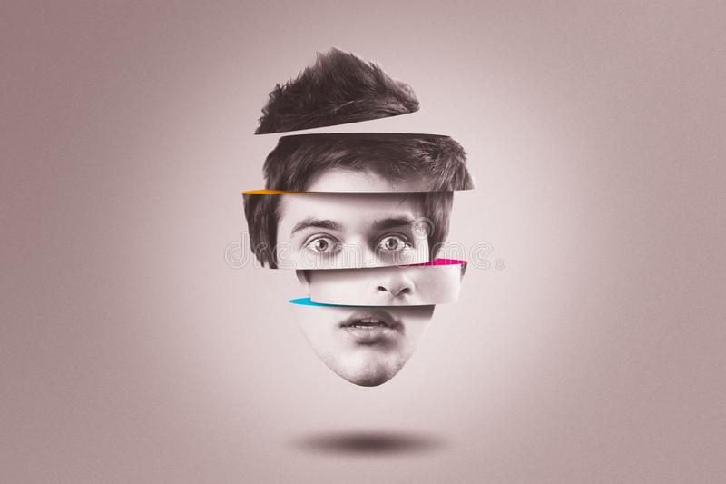 Концепция раздвоенной личности Изолированная голова выреза человека с разладом психических здоровий стоковые изображения