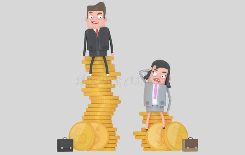 Концепция разнице в зарплаты рода Человек и женщина сидя поверх кучи монеток изолировано иллюстрация штока