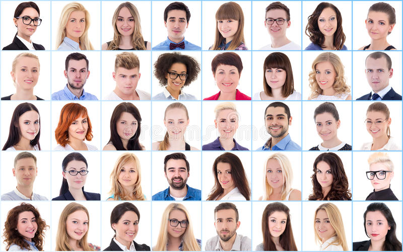 Концепция разнообразия - коллаж с много бизнесменов портретов стоковые фотографии rf