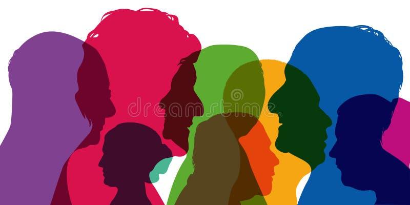 Концепция разнообразия, с силуэтами в цветах; показывать различные профили молодых человеков и женщин бесплатная иллюстрация