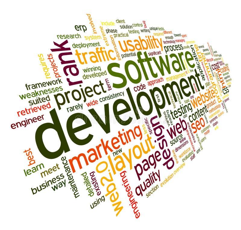 Концепция разработки программного обеспечения в облаке бирки иллюстрация штока