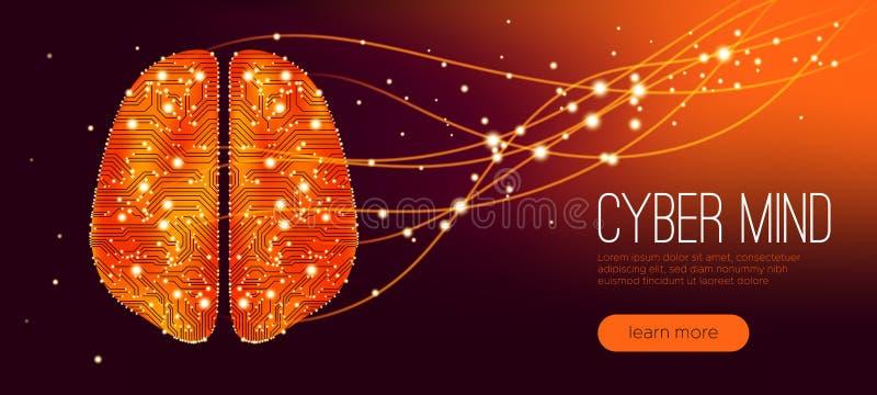 Концепция разума кибер, искусственный интеллект иллюстрация вектора