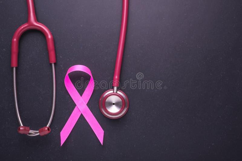 Концепция рака молочной железы: Розовый символ ленты рака молочной железы и стоковое фото