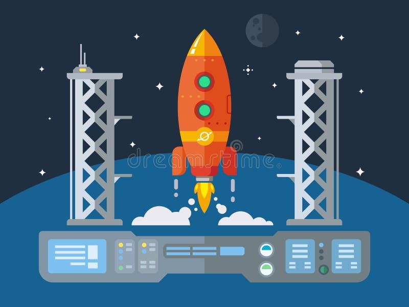 Концепция Ракеты Startup плоская Desing иллюстрация штока