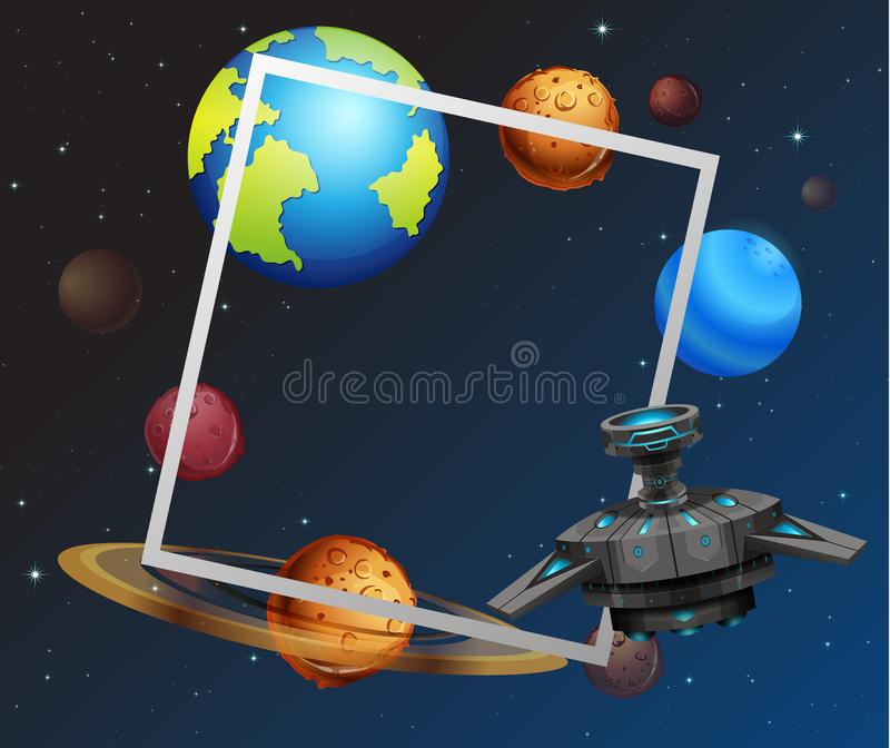 Концепция рамки космоса тематическая бесплатная иллюстрация