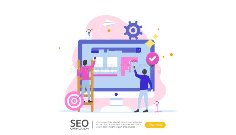 Концепция результата оптимизирования поисковой системы SEO ранжировка вебсайта, реклама, характер людей идеи стратегии шаблон сет иллюстрация вектора