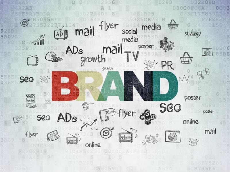 Концепция рекламы: Бренд на предпосылке бумаги цифровых данных иллюстрация штока