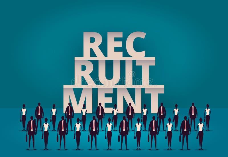 концепция рекрутства дела Менеджер HR нанимая новых работника или работников для работы Завербовывая штат или персонал в их корпо иллюстрация вектора