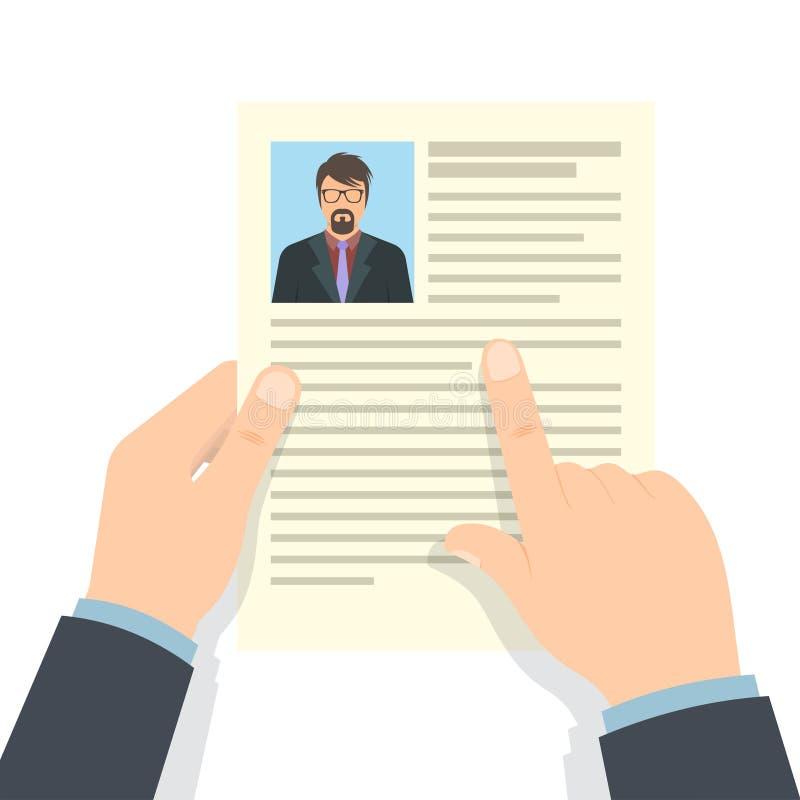 Концепция рекрутства Профиль CV владением рук бесплатная иллюстрация