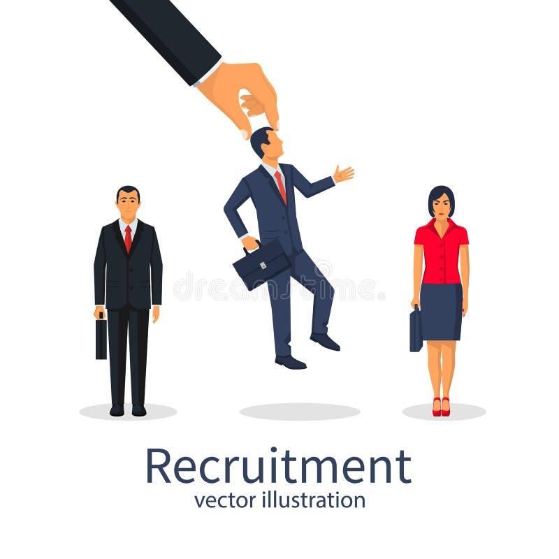 Концепция рекрутства Работодатель бизнесмена выбрал иллюстрация вектора