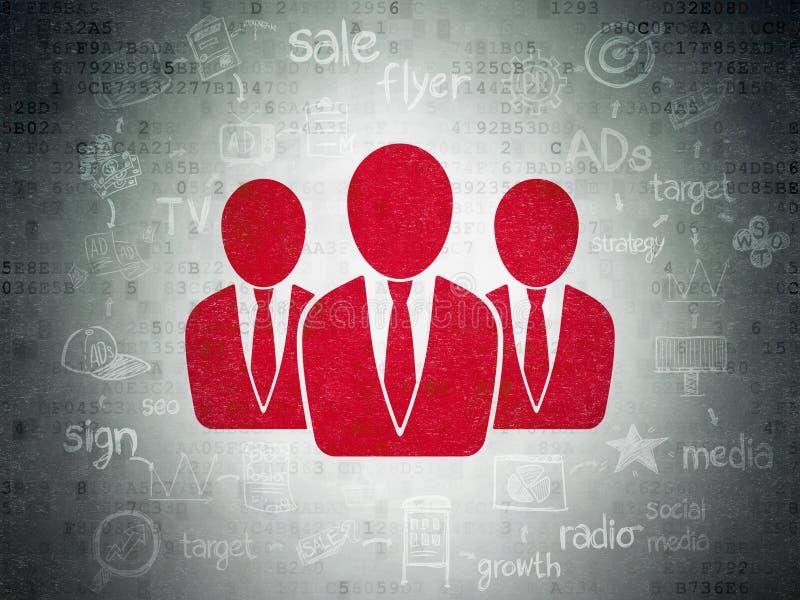 Концепция рекламы: Бизнесмены на цифровом иллюстрация штока