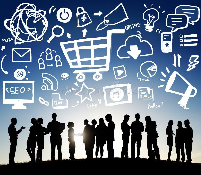 Концепция рекламы коммерции онлайн маркетинговой стратегии клеймя стоковое изображение
