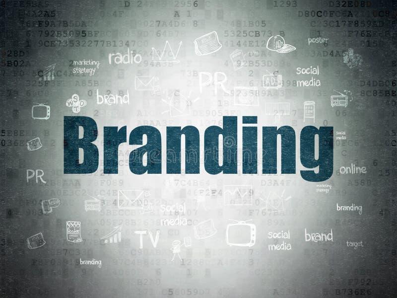 Концепция рекламы: Клеймить на предпосылке цифров бумажной иллюстрация вектора