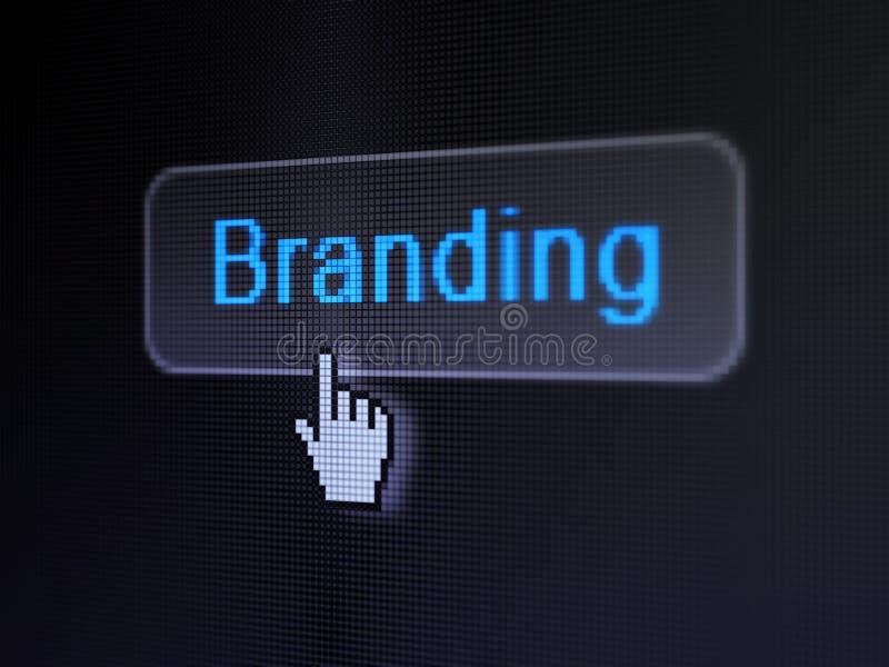 Концепция рекламы: Клеймить на цифровой кнопке иллюстрация штока