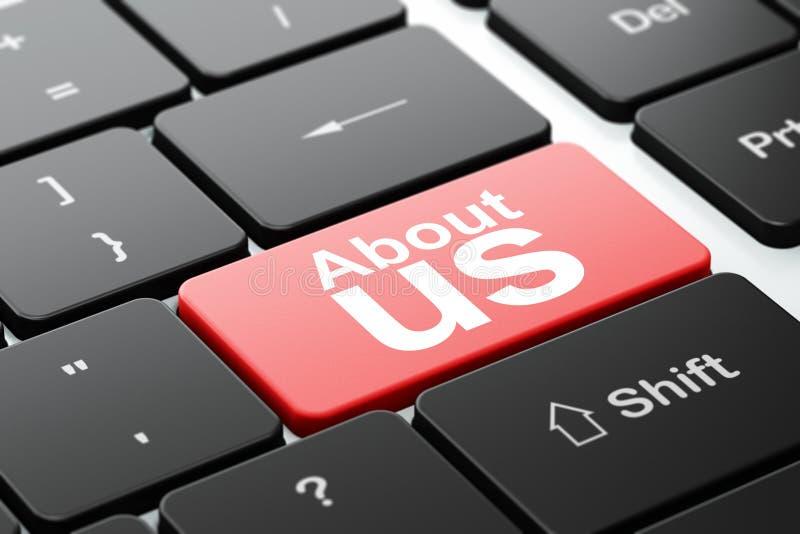 Концепция рекламы: О нас на клавиатуре компьютера иллюстрация штока