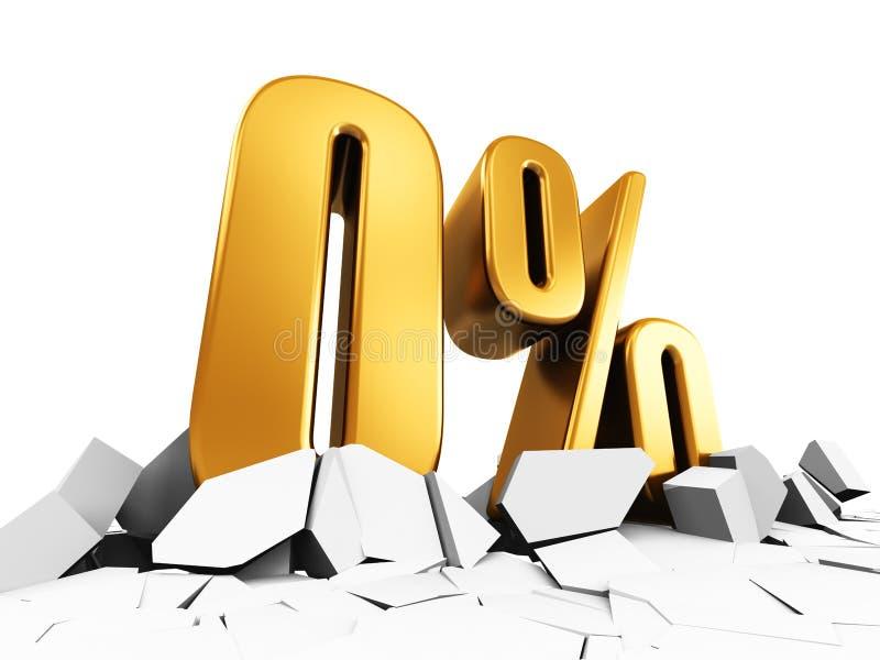 Концепция рекламы продажи и скидки нул или 0 процентов иллюстрация вектора