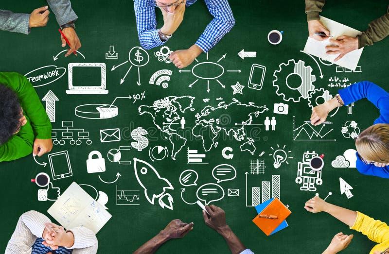 Концепция рекламы рынка всемирной организации глобального бизнеса стоковые изображения rf