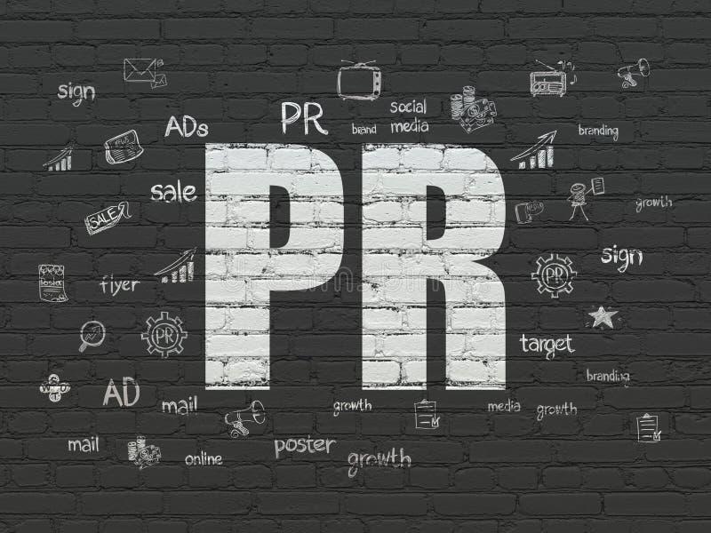 Концепция рекламы: PR на предпосылке стены иллюстрация штока