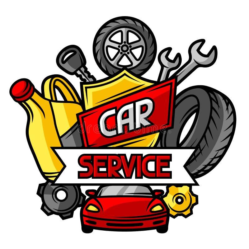 Концепция ремонта автомобиля с объектами и деталями обслуживания бесплатная иллюстрация