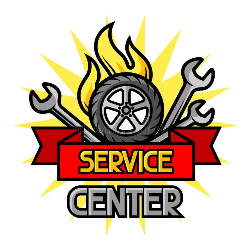 Концепция ремонта автомобиля с объектами и деталями обслуживания иллюстрация вектора