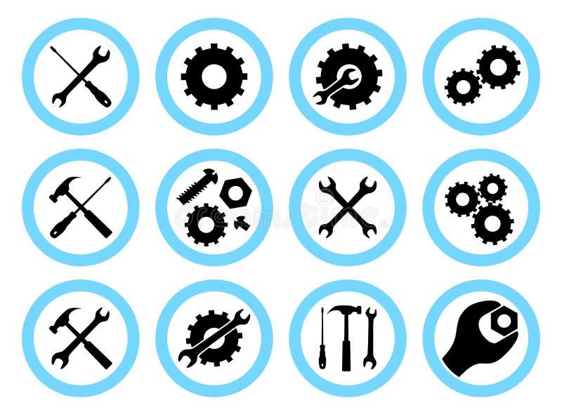 Концепция ремонтных услуг Простые установленные значки: ключ, отвертка, молоток и шестерня Обслуживания значок или кнопка дальше иллюстрация вектора