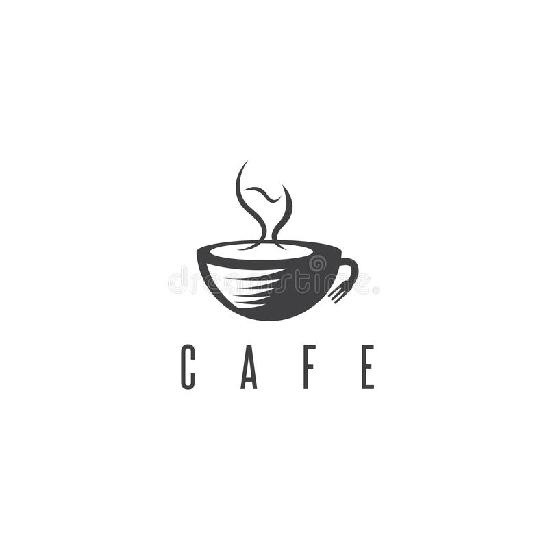 Концепция ресторана или кафа с чашкой кофе и вином иллюстрация штока