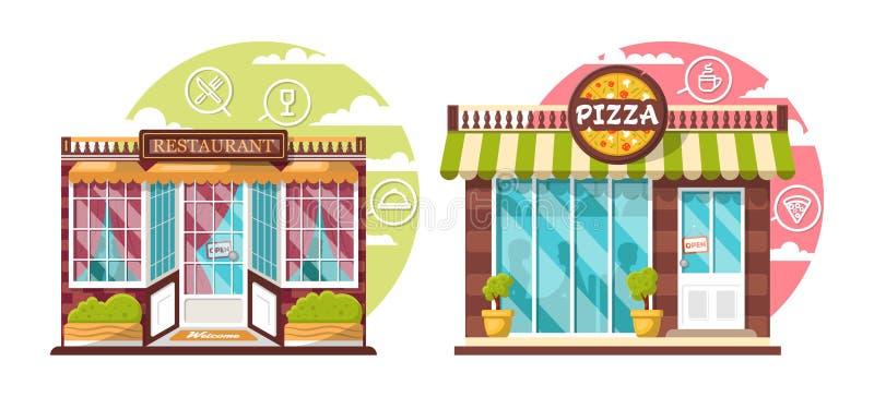 Концепция ресторана и пиццерии Плоские общественные здания города дизайна с внешними витринами магазина и различным дизайном инте стоковая фотография rf