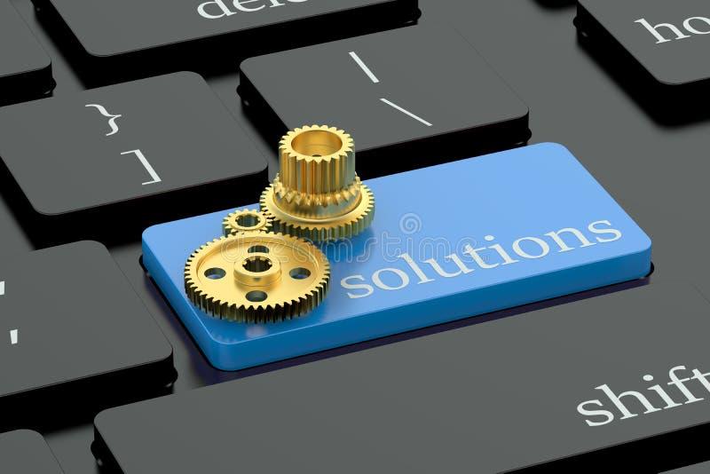 Концепция решений на кнопке клавиатуры бесплатная иллюстрация