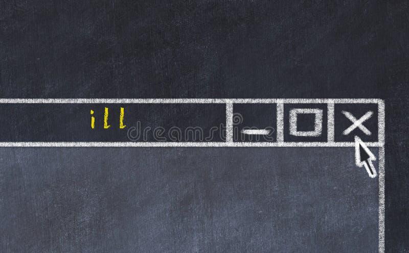 Концепция решения проблемы Замкнуть чертеж закрывающего окна программы с заголовком ill стоковое фото