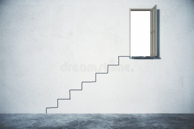 Концепция решения проблемы при лестница водя к открыть двери стоковая фотография