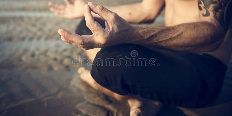 Концепция релаксации концентрации раздумья йоги мирная спокойная стоковое изображение