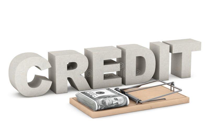 Концепция риска при предоставлении кредита Ловушка мыши с деньгами против знака кредита иллюстрация вектора