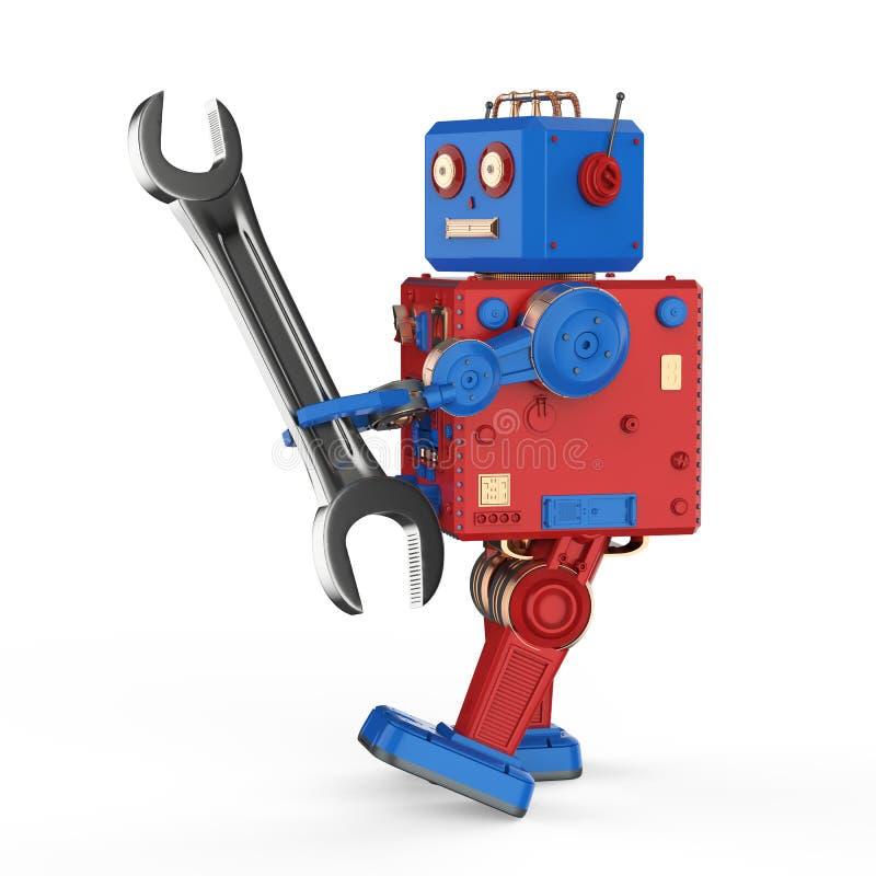 Концепция робота инженера иллюстрация вектора