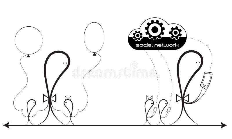 Концепция Родители и дети Влюбленность и равнодушие Социальная сеть иллюстрация вектора